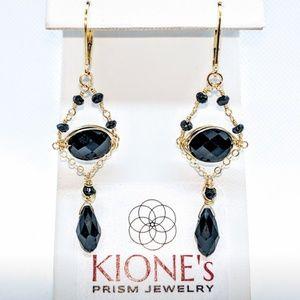 Black spinel, crystal (drop) & 14kt GF earrings